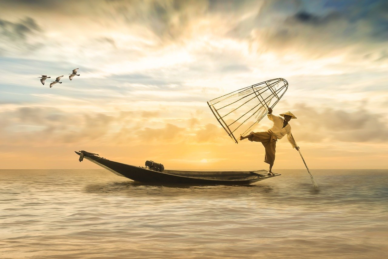 man fishing in the orient